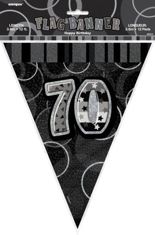 Glitz Black & Silver Birthday Flag Banner - 70 - Yakedas Party and Giftware