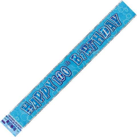 Glitz Blue 100th Birthday Foil Banner - Yakedas Party and Giftware
