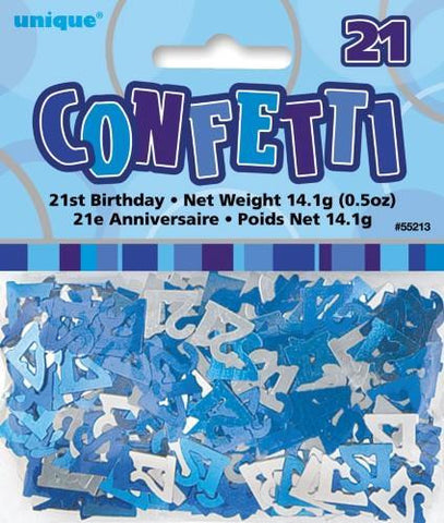 Glitz Blue 21 Confetti - Yakedas Party and Giftware