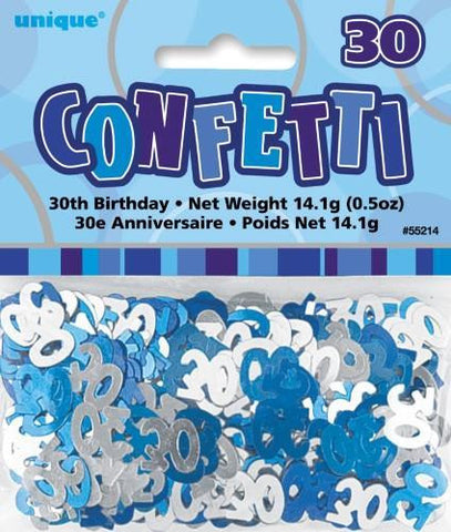 Glitz Blue 30 Confetti - Yakedas Party and Giftware