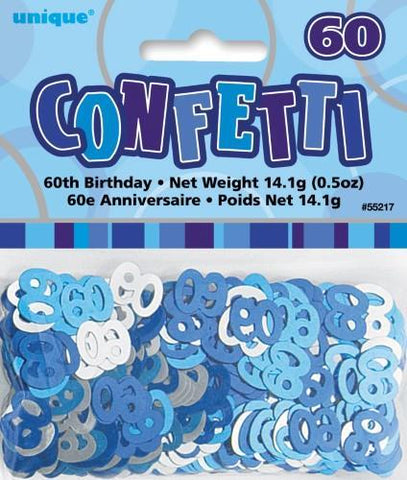 Glitz Blue 60 Confetti - Yakedas Party and Giftware