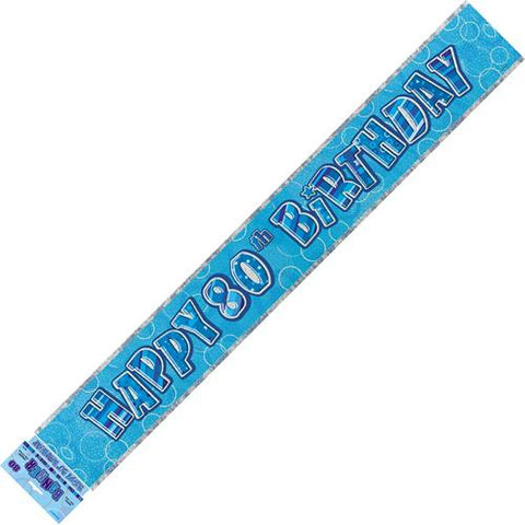 Glitz Blue 80th Birthday Foil Banner - Yakedas Party and Giftware