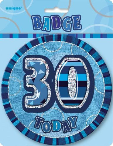 Glitz Blue Birthday Badge - 30 - Yakedas Party and Giftware