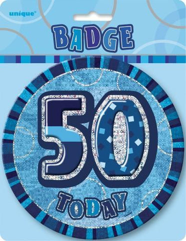 Glitz Blue Birthday Badge - 50 - Yakedas Party and Giftware