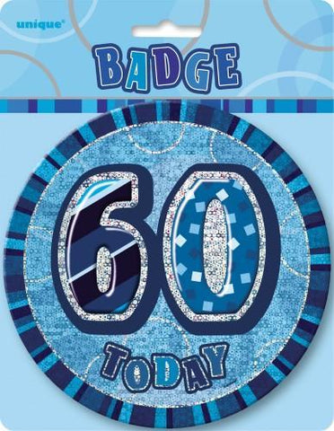 Glitz Blue Birthday Badge - 60 - Yakedas Party and Giftware