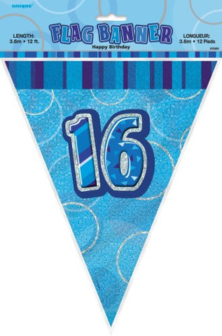 Glitz Blue Birthday Flag Banner - 16 - Yakedas Party and Giftware