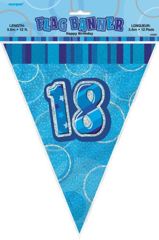 Glitz Blue Birthday Flag Banner - 18 - Yakedas Party and Giftware