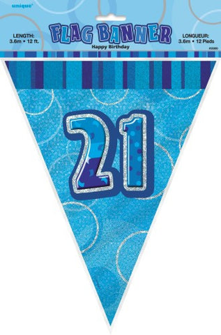Glitz Blue Birthday Flag Banner - 21