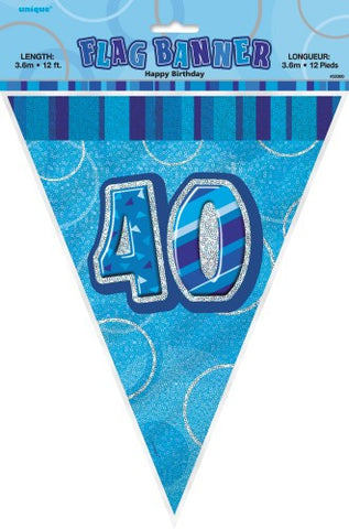 Glitz Blue Birthday Flag Banner - 40 - Yakedas Party and Giftware