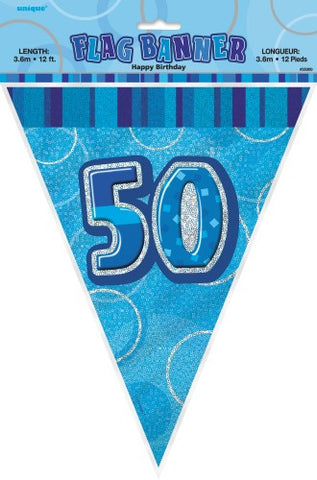 Glitz Blue Birthday Flag Banner - 50 - Yakedas Party and Giftware