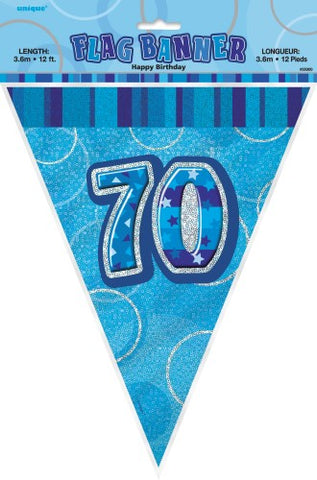 Glitz Blue Birthday Flag Banner - 70 - Yakedas Party and Giftware