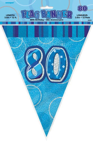 Glitz Blue Birthday Flag Banner - 80 - Yakedas Party and Giftware