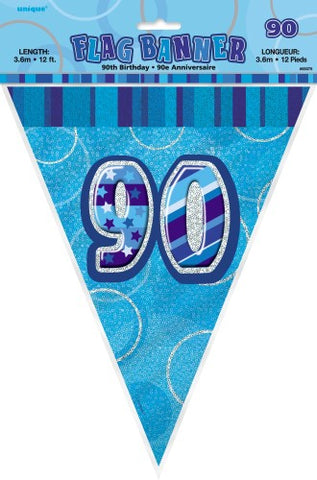 Glitz Blue Birthday Flag Banner - 90 - Yakedas Party and Giftware