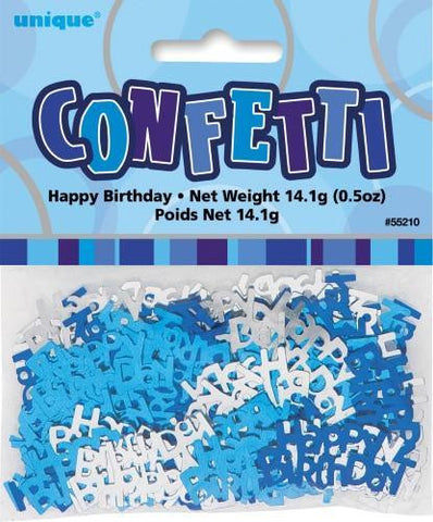 Glitz Blue Happy Birthday Confetti
