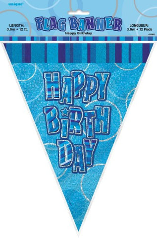 Glitz Blue Happy Birthday Flag Banner - Yakedas Party and Giftware