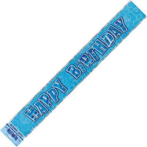 Glitz Blue Happy Birthday Foil Banner - Yakedas Party and Giftware
