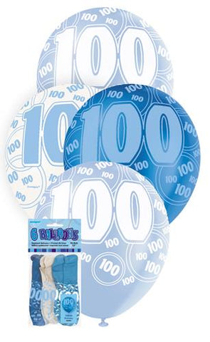 Glitz Blue Latex Balloons - 100