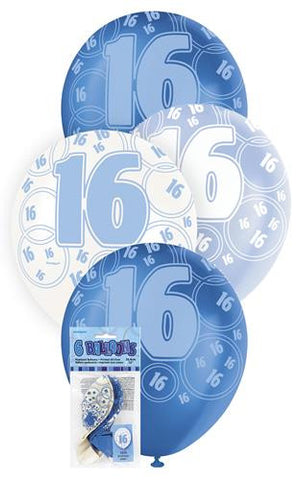 Glitz Blue Latex Balloons - 16 - Yakedas Party and Giftware