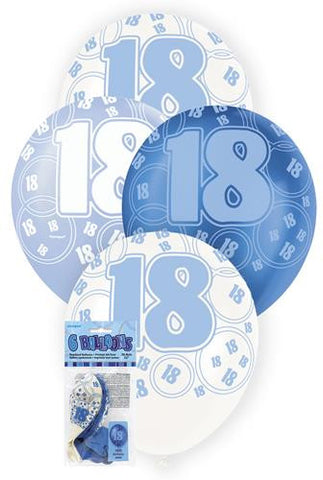 Glitz Blue Latex Balloons - 18 - Yakedas Party and Giftware