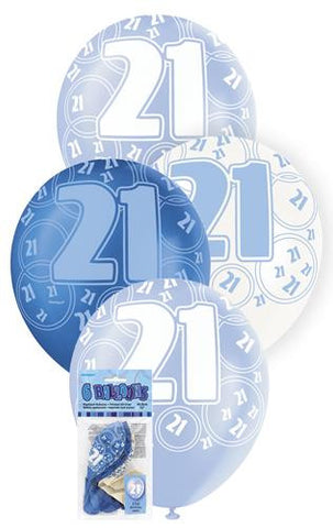 Glitz Blue Latex Balloons - 21 - Yakedas Party and Giftware