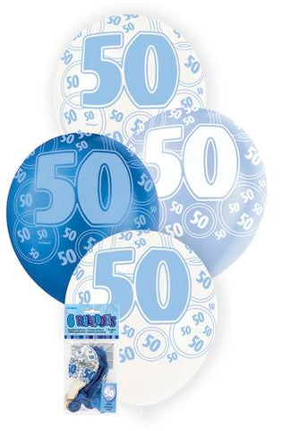 Glitz Blue Latex Balloons - 50