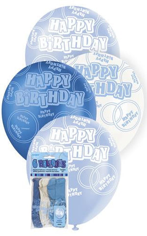 Glitz Blue Latex Balloons - Happy Birthday - Yakedas Party and Giftware