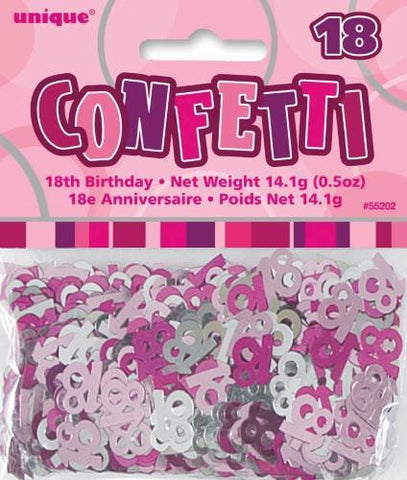 Glitz Pink 18 Confetti - Yakedas Party and Giftware