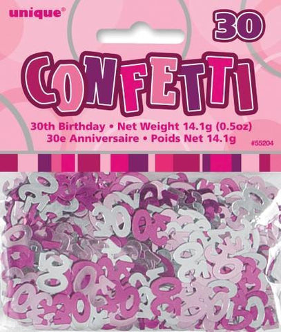 Glitz Pink 30 Confetti - Yakedas Party and Giftware