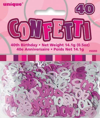 Glitz Pink 40 Confetti - Yakedas Party and Giftware