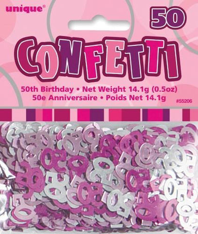 Glitz Pink 50 Confetti - Yakedas Party and Giftware