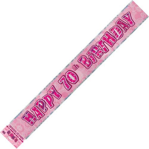 Glitz Pink 70th Birthday Foil Banner - Yakedas Party and Giftware