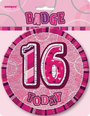 Glitz Pink Birthday Badge - 16