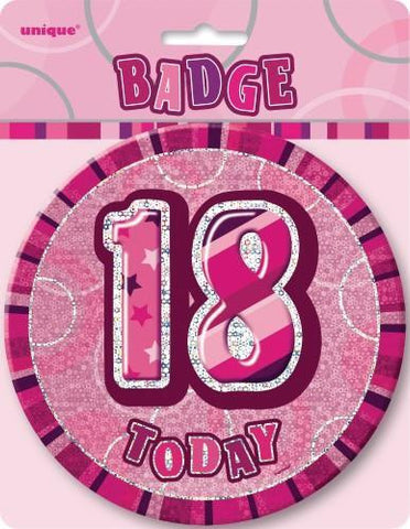 Glitz Pink Birthday Badge - 18 - Yakedas Party and Giftware