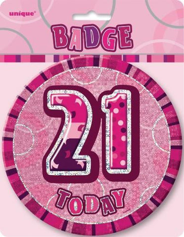 Glitz Pink Birthday Badge - 21