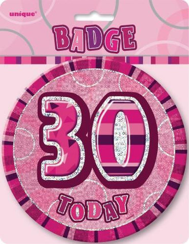 Glitz Pink Birthday Badge - 30