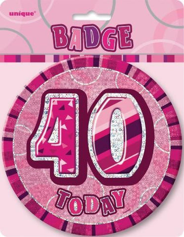 Glitz Pink Birthday Badge - 40 - Yakedas Party and Giftware