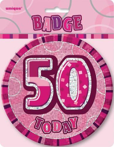Glitz Pink Birthday Badge - 50 - Yakedas Party and Giftware