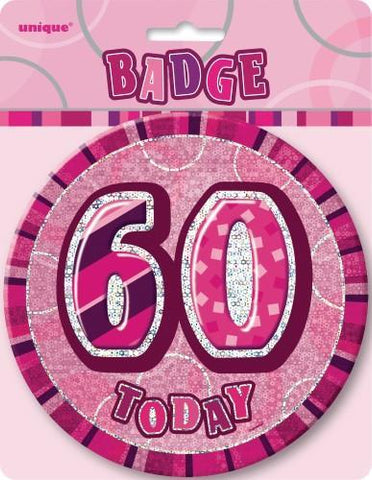 Glitz Pink Birthday Badge - 60 - Yakedas Party and Giftware