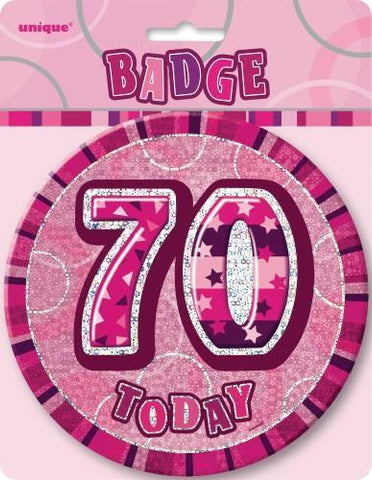 Glitz Pink Birthday Badge - 70 - Yakedas Party and Giftware
