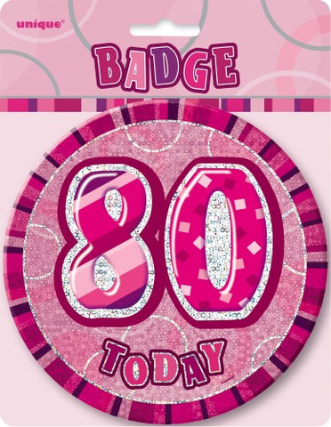 Glitz Pink Birthday Badge - 80 - Yakedas Party and Giftware