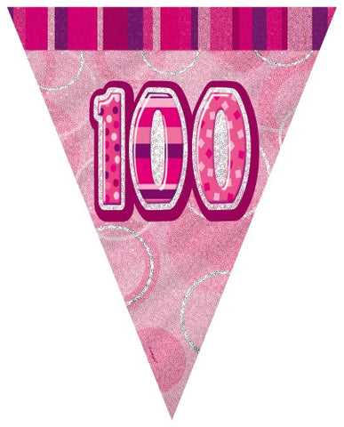 Glitz Pink  Birthday Flag Banner - 100 - Yakedas Party and Giftware