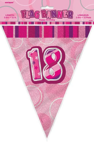 Glitz Pink  Birthday Flag Banner - 18 - Yakedas Party and Giftware