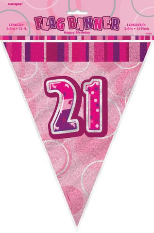 Glitz Pink  Birthday Flag Banner - 21 - Yakedas Party and Giftware