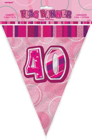 Glitz Pink  Birthday Flag Banner - 40 - Yakedas Party and Giftware