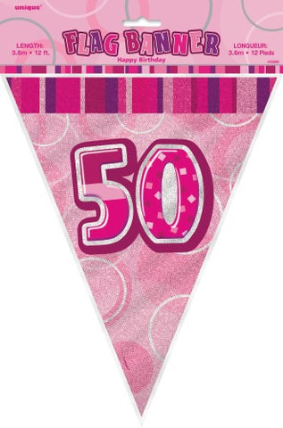 Glitz Pink  Birthday Flag Banner - 50 - Yakedas Party and Giftware