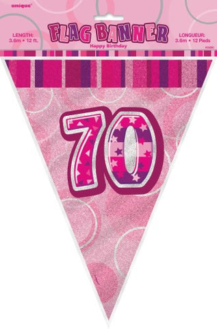 Glitz Pink  Birthday Flag Banner - 70 - Yakedas Party and Giftware