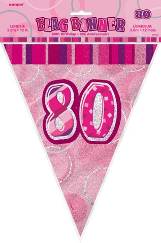Glitz Pink  Birthday Flag Banner - 80 - Yakedas Party and Giftware