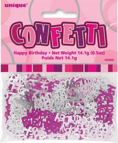 Glitz Pink Happy Birthday Confetti - Yakedas Party and Giftware