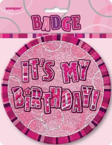 Glitz Pink It's My Birthday Badge - Yakedas Party and Giftware