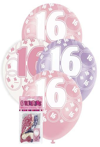Glitz Pink Latex Balloons - 16 - Yakedas Party and Giftware